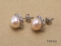 8mm Pink Flat Freshwater Pearl Earrings