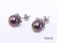 8mm Dark-purple Flat Freshwater Pearl Earrings