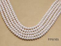 Wholesale 8x10mm White Flat Freshwater Pearl String
