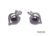 9mm Black Flat Freshwater Pearl Earrings