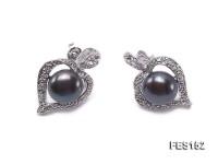 9mm Black Flat Freshwater Pearl Earrings