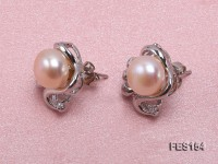 8mm Pink Flat Freshwater Pearl Earrings