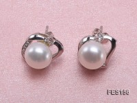 7.5mm White Flat Freshwater Pearl Earrings
