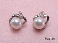 7.5mm White Flat Freshwater Pearl Earrings