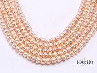 Wholesale 10x12mm Flat Pink Freshwater Pearl String