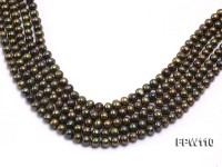 Wholesale 7×7.5mm  Flat  Round Freshwater Pearl String