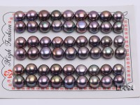Wholesale Cards of 9.5-10mm Black Flat Pearls–27 Pairs