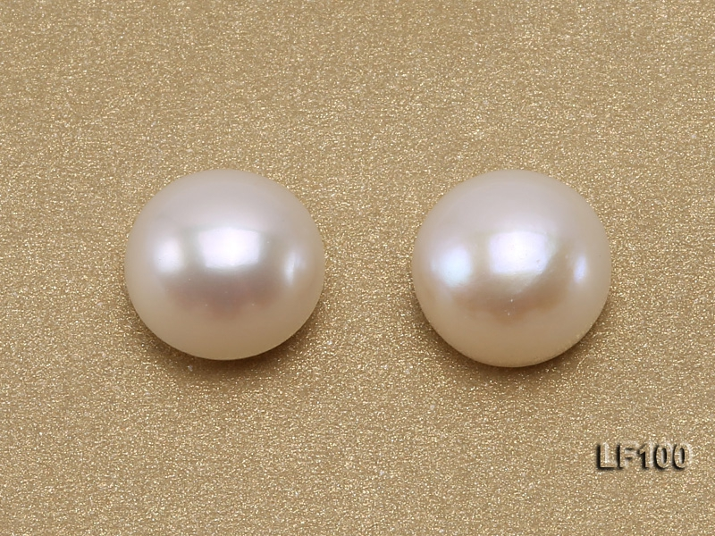 Wholesale Cards of AA-grade 10-10.5mm Classic White Flat Freshwater Pearls—27 Pairs