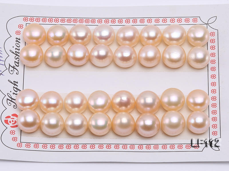 Wholesale Cards of AA-grade 10-11mm Natural Pink Flat Freshwater Pearls—16 Pairs