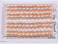 Wholesale Cards of AA-grade 7-7.5mm Pink Flat Freshwater Pearls—48 Pairs