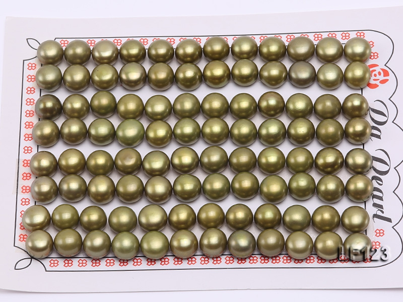 Wholesale Cards of AA-grade 7.5-8.0mm Greenish Yellow Flat Pearls–48 Pairs