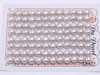 Wholesale Cards of AA-grade 7.5-8.0mm Classic White Flat Pearls–48 Pairs