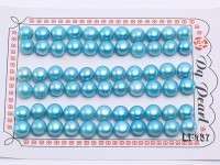 Wholesale Cards of 8-8.5mm Blue Flat Pearls–33 Pairs