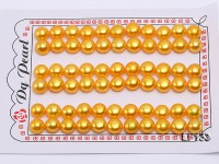 Wholesale Cards of 8-8.5mm Golden Flat Pearls–33 Pairs