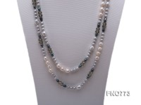 natural white rice freshwater pearl with grey pearl and black carved crystal Necklace