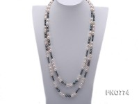 10×8.5mm black and white rice freshwater pearl with round pearl necklace