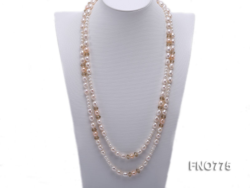 8-10mm natural white and pink rice freshwater pearl with crystal necklace