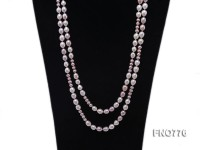 8-10mm natural white and lavender rice freshwater pearl necklace