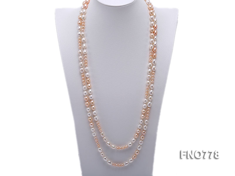 8-10mm natural white and pink rice freshwater pearl with round pink pearl necklace