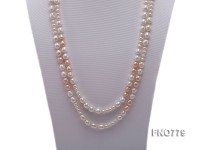8-10mm natural white and pink rice freshwater pearl necklace