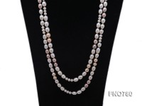 8-10mm natural white pink and lavender rice freshwater pearl with round white pearl necklace