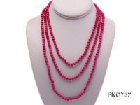 5-6mm magenta round freshwater pearl necklace