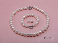 11-13mm White Flat Freshwater Pearl Necklace, Bracelet and Stud Earrings Set