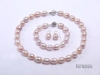 12-13mm Argent Rice-shaped Freshwater Pearl Necklace, Bracelet and earrings Set