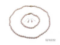 6-7mm Pink Rice-shaped Freshwater Pearl Necklace, Bracelet and earrings Set
