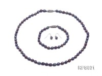 6-7mm Black Rice-shaped Freshwater Pearl Necklace, Bracelet and earrings Set