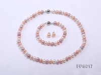 8-9mm White, Pink and Lavender Flat Freshwater Pearl Necklace, Bracelet and Stud Earrings Set