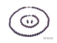 7-8mm dark purple round freshwater pearl necklace,bracelet and earring set