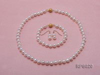 8-9mm white round freshwater pearl necklace,bracelet and earring set