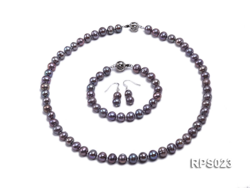 8-10mm grey round freshwater pearl necklace,bracelet and earring set