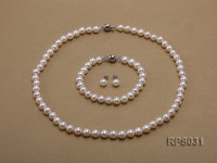 7-8mm white round freshwater pearl necklace,bracelet and earring set