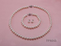 8-8.5mm White Flat Freshwater Pearl Necklace, Bracelet and Stud Earrings Set