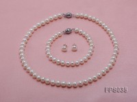 8-9mm White Flat Freshwater Pearl Necklace, Bracelet and Stud Earrings Set