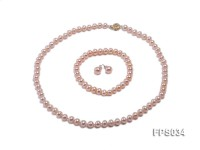 7-8mm Pink Flat Freshwater Pearl Necklace, Bracelet and Stud Earrings Set