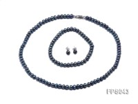 5-6mm Black Flat Freshwater Pearl Necklace, Bracelet and Stud Earrings Set