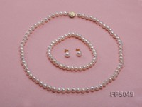 6.5-7.5mm White Flat Freshwater Pearl Necklace, Bracelet and Stud Earrings Set