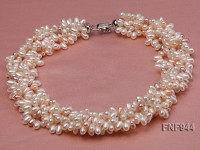 Five-strand White, Pink and Light-purple Freshwater Pearl Necklace