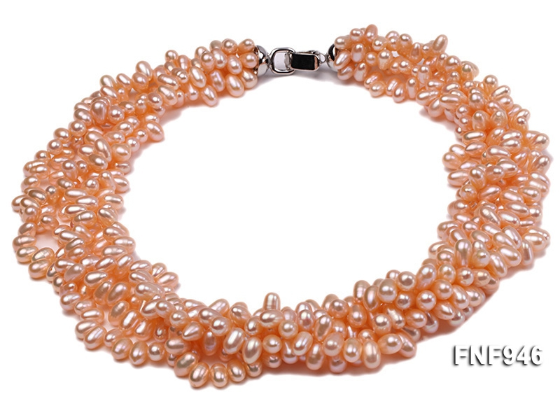 Five-strand 5×8.5mm Pink Freshwater Pearl Necklace