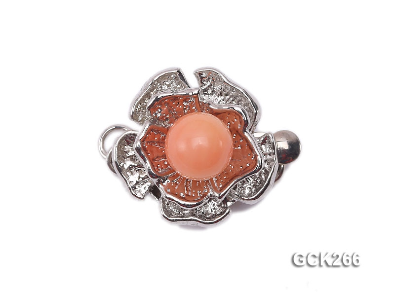 14mm Flower-shaped White Gilded Clasp Inlaid with Pink Imitation Coral