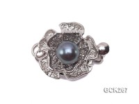 14mm Flower-shaped White Gilded Clasp Inlaid with Black Pearl
