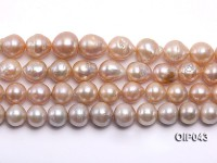 AAA-grade 12-15mm Natural Pink Irregularly-shaped Pearl String