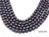 Wholesale 11x12mm Black Rice-shaped Freshwater Pearl String