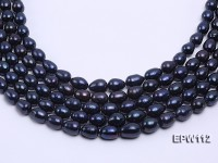 High-quality Super-size 12-15mm Black Rice-shaped Freshwater Pearl String