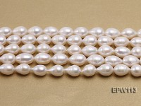 Wholesale 10x15mm White Rice-shaped Freshwater Pearl String
