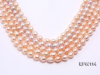 Wholesale 11x13mm Pink Rice-shaped Freshwater Pearl String
