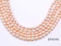 Wholesale 9x12mm pink Rice-shaped Freshwater Pearl String